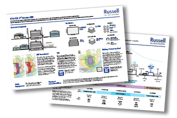 two pages of infographics on proposed building used for public engagement